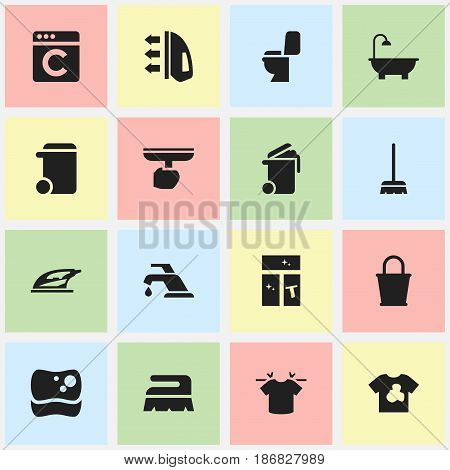 Set Of 16 Editable Cleanup Icons. Includes Symbols Such As Brush, Bathroom, Washing Glass And More. Can Be Used For Web, Mobile, UI And Infographic Design.