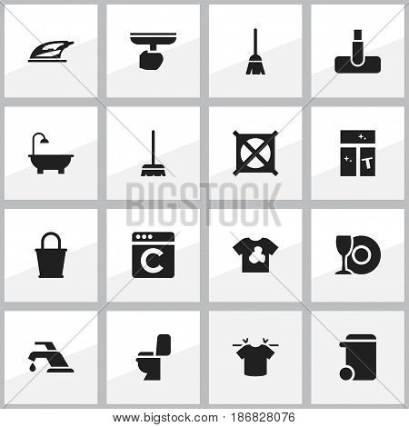 Set Of 16 Editable Cleanup Icons. Includes Symbols Such As No Laundry, Faucet, Whisk And More. Can Be Used For Web, Mobile, UI And Infographic Design.