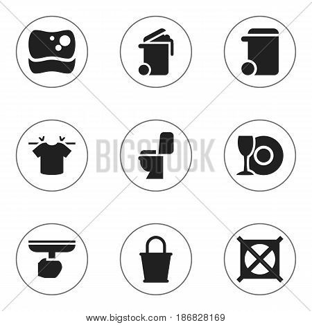 Set Of 9 Editable Cleanup Icons. Includes Symbols Such As Plate, Clean T-Shirt, Pail And More. Can Be Used For Web, Mobile, UI And Infographic Design.