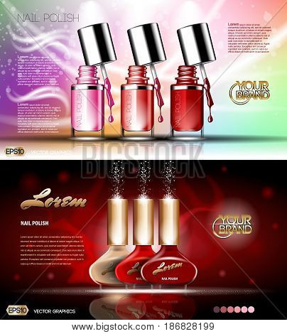 Digital vector transparent nail polish set container mockup, silver cup, open lid and color blot, with your brand, ready for print ads or magazine design. Glossy and shine, realistic 3d style