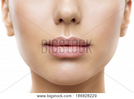Lips Woman Face Mouth Beauty Beautiful Skin and Full Lip Closeup Pink Lipstick