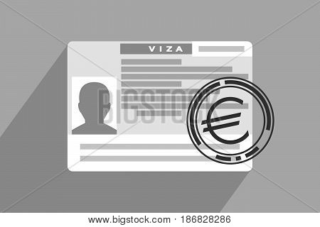 Schengen visa and large imprint with euro sign above. European Union and Schengen zone. Tourism and financial expenses