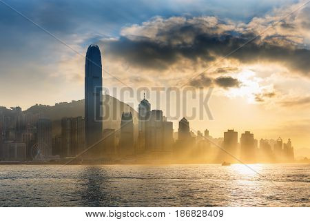 Sunset scene in Hong Kong island. Landscape of Hong Kong.