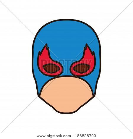colorful silhouette with faceless man superhero and middle mask and shape of flame around the eyes and closed eyes vector illustration