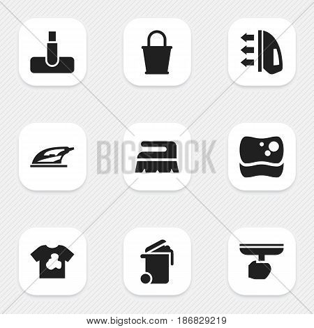 Set Of 9 Editable Hygiene Icons. Includes Symbols Such As Unclean Blouse, Washing Tool, Appliance And More. Can Be Used For Web, Mobile, UI And Infographic Design.