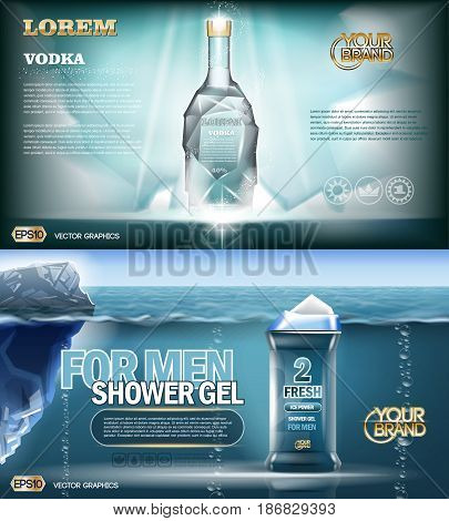 Digital vector aqua silver shower gel and vodka bottle mockup with ice and sparkle, with your brand, ready for print ads or magazine design. Glossy and shine, realistic 3d style