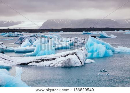 Large pieces of the iceberg. Picturesque and gorgeous scene. Location famous place Vatnajokull national park, island Iceland, sightseeing Europe. Climate change. Explore the world's beauty.