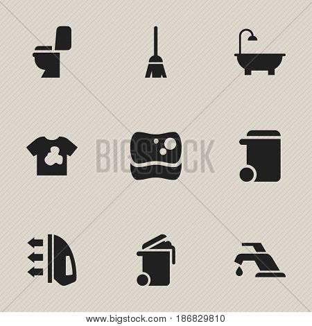 Set Of 9 Editable Dry-Cleaning Icons. Includes Symbols Such As Unclean Blouse, Steam, Restroom And More. Can Be Used For Web, Mobile, UI And Infographic Design.