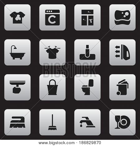 Set Of 16 Editable Cleaning Icons. Includes Symbols Such As Pail, Bathroom, Steam And More. Can Be Used For Web, Mobile, UI And Infographic Design.