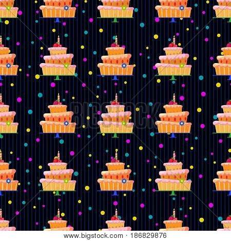 Seamless pattern with cartoon cake with red strawberries, a candle and a flower.Three tiers.Tasty sweets with pink cream.Vector illustration for children's on birthday or other holiday.Dessert
