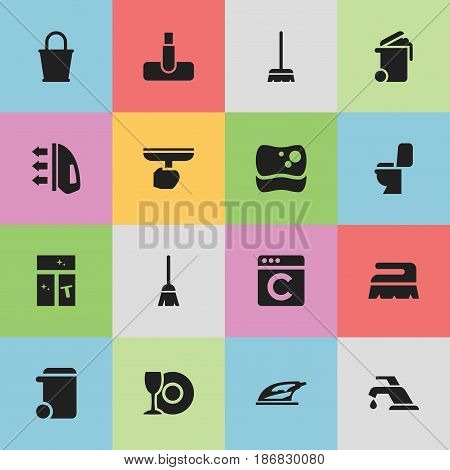 Set Of 16 Editable Dry-Cleaning Icons. Includes Symbols Such As Restroom, Hoover, Whisk And More. Can Be Used For Web, Mobile, UI And Infographic Design.