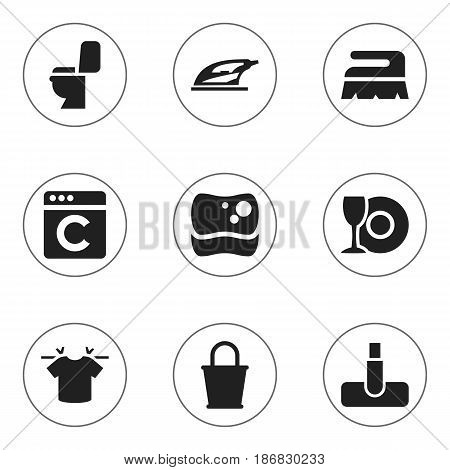Set Of 9 Editable Dry-Cleaning Icons. Includes Symbols Such As Pail, Hoover, Sweep And More. Can Be Used For Web, Mobile, UI And Infographic Design.