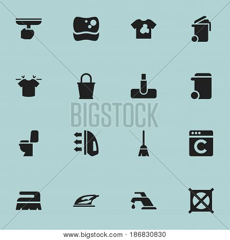 Set Of 16 Editable Cleanup Icons. Includes Symbols Such As Steam, Clean T-Shirt, Sweep And More. Can Be Used For Web, Mobile, UI And Infographic Design.