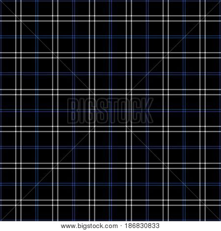 Black blue and white plaid tissue seamless pattern