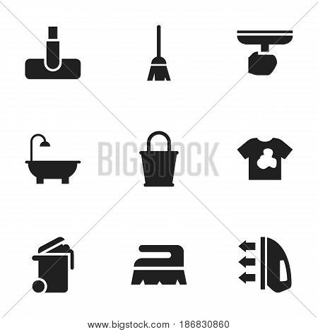Set Of 9 Editable Hygiene Icons. Includes Symbols Such As Unclean Blouse, Hoover, Brush And More. Can Be Used For Web, Mobile, UI And Infographic Design.