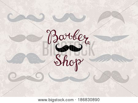 Vector logo for barber shops. Vintage Barber shop calligraphic handwritten. Logo for hair salon. Pattern from different mustache.
