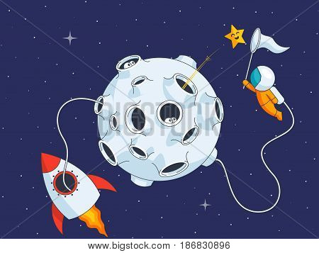 Astronaut catch the star near moon, research space, vector illustration in flat style