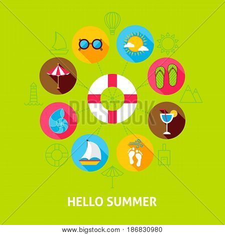Hello Summer Concept. Vector Illustration of Sea Holiday Infographics Circle with Flat Icons.
