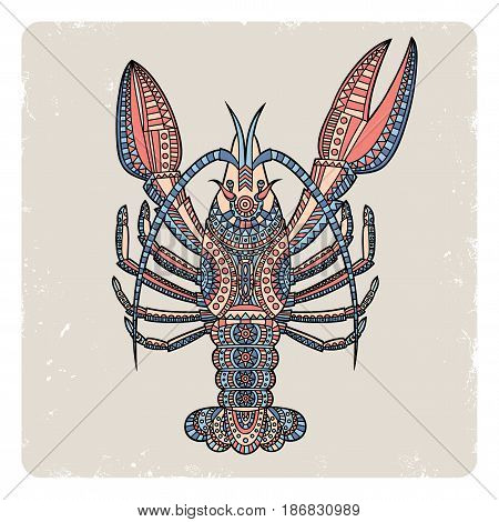 Decorative crayfish scratched on a beige background. Hand drawn vector illustration.