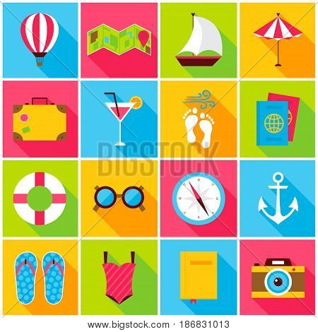 Summer Colorful Icons. Vector Illustration. Set of Flat Rectangle Travel Items with Long Shadow.