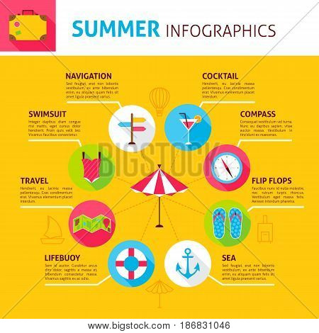 Summer Concept Infographic. Flat Design Vector Illustration of Sea Holiday.