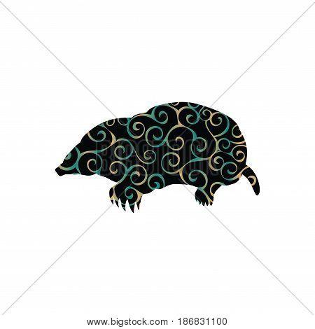 Mole insectivores mammal color silhouette animal. Vector Illustrator.