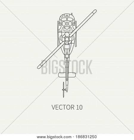 Line flat vector icon military turboprop transportation helicopter. Army equipment and armament. Retro copter. Aircraft. Cartoon. Assault. Soldiers. War. Illustration and element for design, wallpaper