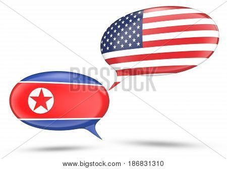 North Korea and United States relations concept with speech bubbles, 3D rendering