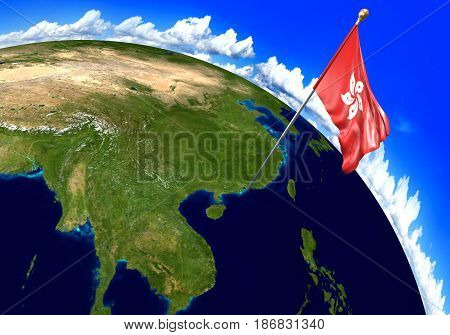 Hong Kong national flag marking the country location on world map. 3D rendering, parts of this image furnished by NASA