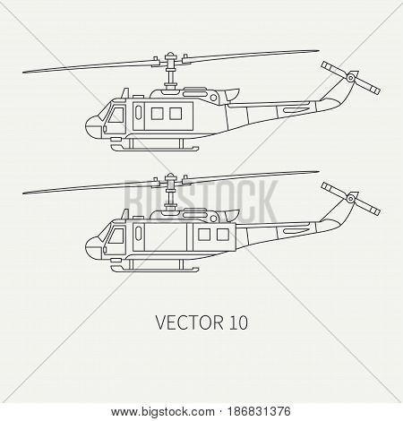Line flat vector icon set military turboprop transportation helicopter. Army equipment and armament. Retro copter. Aircraft. Cartoon. Assault. Soldiers. Illustration and element for design, wallpaper.