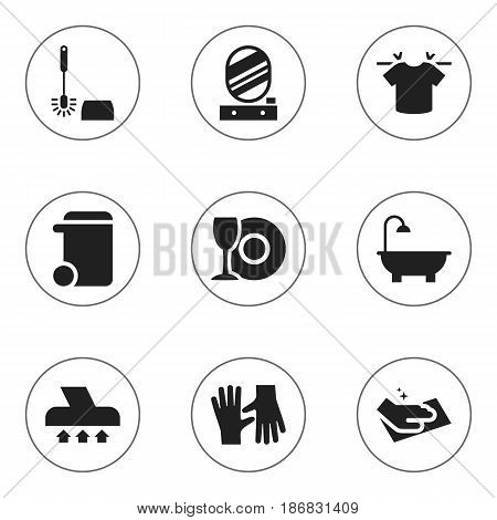 Set Of 9 Editable Dry-Cleaning Icons. Includes Symbols Such As Dustbin, Plate, Bathroom And More. Can Be Used For Web, Mobile, UI And Infographic Design.