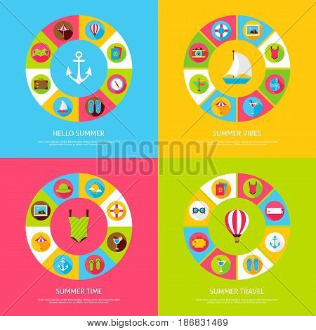 Summer Time Concepts. Vector Illustration of Sea Holiday Infographics Circle with Icons.