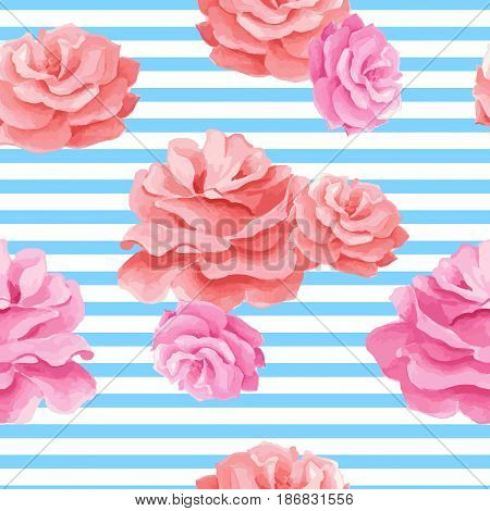 Vector illustration with watercolor image of a red and pink roses.Stripes on a blue background.Seamless pattern.Can be used for textile, fabric, wrapping paper, design a web site.