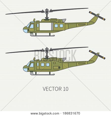 Line flat color vector icon set military turboprop transportation helicopter. Army equipment and armament. Retro copter. Cartoon. Assault. Soldiers. War. Illustration and element for design, wallpaper