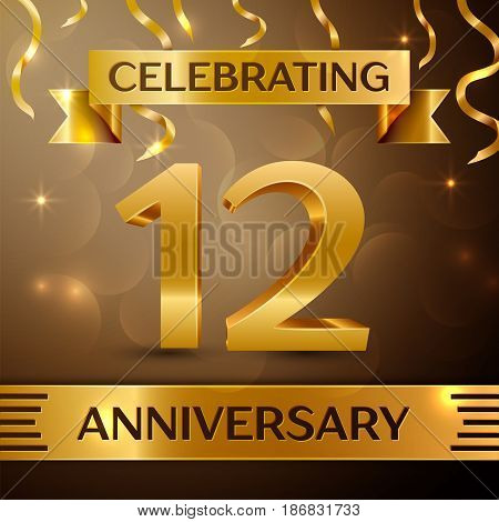 Twelve Years Anniversary Celebration Design. Confetti and gold ribbon on golden background. Colorful Vector template elements for your birthday party. Anniversary ribbon