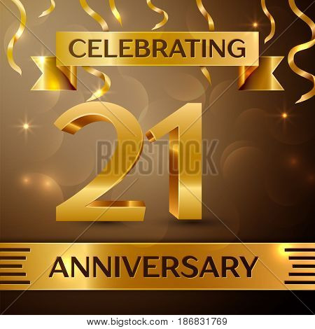 Twenty one Years Anniversary Celebration Design. Confetti and gold ribbon on golden background. Colorful Vector template elements for your birthday party. Anniversary ribbon