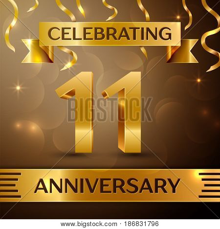 Eleven Years Anniversary Celebration Design. Confetti and gold ribbon on golden background. Colorful Vector template elements for your birthday party. Anniversary ribbon