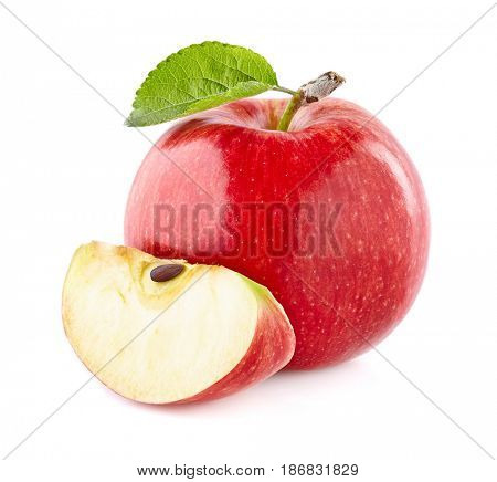 Apples with leaf in closeup
