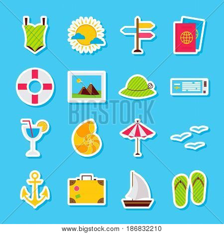 Summer Travel Stickers. Vector Illustration Flat Style. Collection of Seasonal Holiday Symbols.