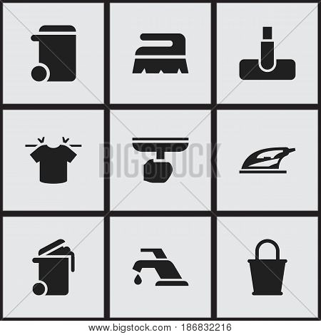 Set Of 9 Editable Cleaning Icons. Includes Symbols Such As Pail, Sweep, Faucet And More. Can Be Used For Web, Mobile, UI And Infographic Design.