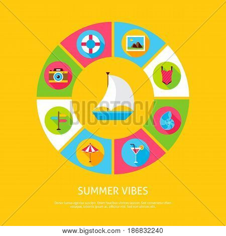Summer Vibes Concept. Vector Illustration of Sea Holiday Infographics Circle with Icons.