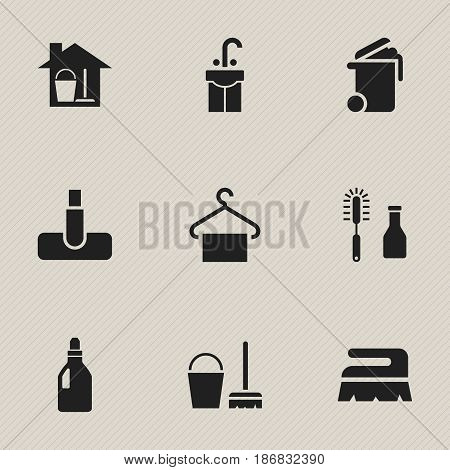 Set Of 9 Editable Cleaning Icons. Includes Symbols Such As Bucket With Mop, Hoover, Cleanser And More. Can Be Used For Web, Mobile, UI And Infographic Design.
