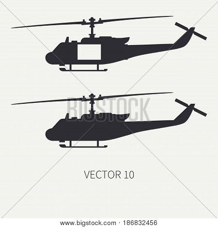 Silhouette. Line flat vector icon set military turboprop transportation helicopter. Army equipment and armament. Retro copter. Cartoon. Assault soldiers. Illustration and element for design, wallpaper