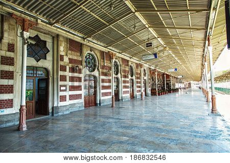 ISTANBUL TURKEY - MAY 2 2017: Platform of Sirkeci railway station - terminal was built for of famous Orient Express in Sirkeci Istanbul Turkey