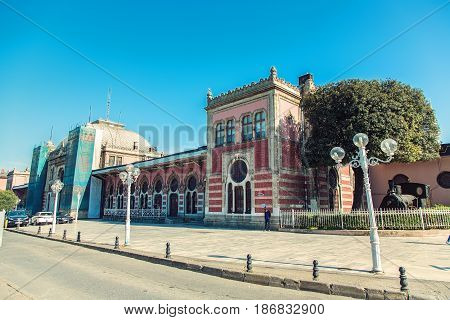 ISTANBUL TURKEY - MAY 2 2017: Sirkeci railway station historic architecture last station of the Orient Express in Istanbul Turkey