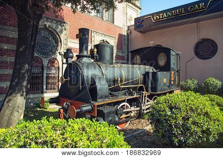 ISTANBUL TURKEY - MAY 2 2017: Old steam locomotive TCDD 2251 was built in 1874. Placed on the Istanbul Sirkeci railway station as a monument in honor of the famous Orient Express