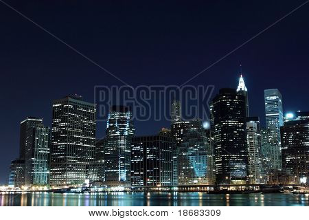 Manhattan Skyline At Night, New York City