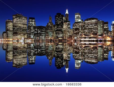 Manhattan Skyline At Night, New York City poster