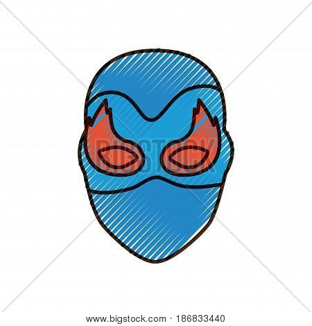 colored pencil silhouette of faceless female superhero with mask and flame eyes and thick contour vector illustration