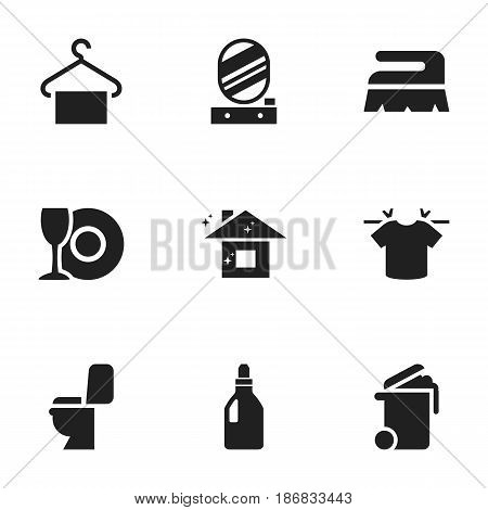 Set Of 9 Editable Cleanup Icons. Includes Symbols Such As Laundry Detergent, Clean T-Shirt, Hanger And More. Can Be Used For Web, Mobile, UI And Infographic Design.